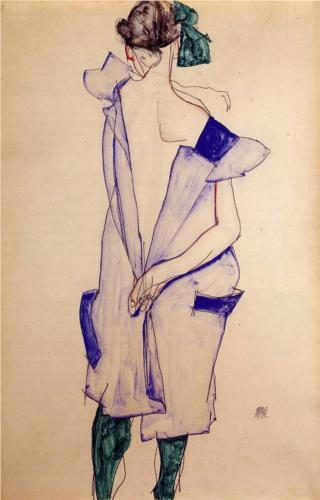 Schiele - standing-girl-in-a-blue-dress-and-green-stockings-back-view-1913.jpg!Blog